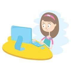 Happy Girl Using Computer vector