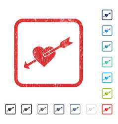 Heart arrow icon rubber watermark vector