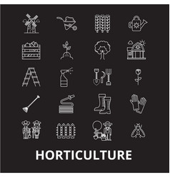 Horticulture editable line icons set on vector