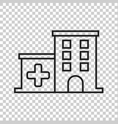 Hospital building icon in transparent style vector