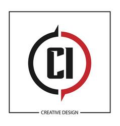 initial letter ci logo template design vector image