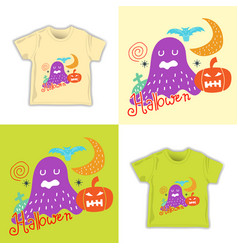 kids childish halloween seamless pattern vector image