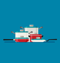 kitchen tools collection modern flat vector image