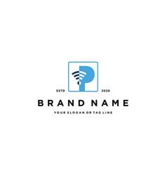 Letter p wireless logo design vector