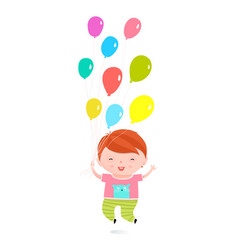 Little boy happy holiday jumping with balloons vector
