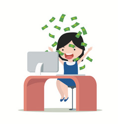 Little girl glad to earning money vector
