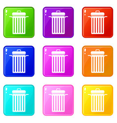 Metal trash can icons 9 set vector