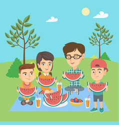 mother with kids eating watermelon at the park vector image