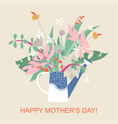 mothers day card with a bouquet flowers vector image