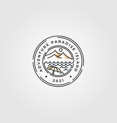 mountain and beach line art logo minimalist design vector image