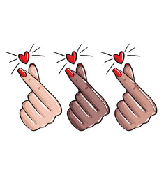 nails love manicure like sign korean love vector image