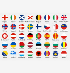 National flags european countries with captions vector