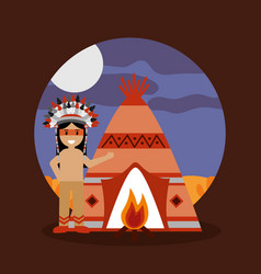 Native american indian teepee bonfire and night vector