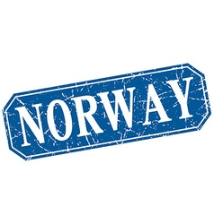 Norway blue square grunge retro style sign vector