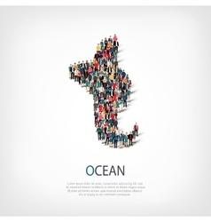 Ocean people sign 3d vector