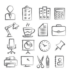 Office doodle icons vector