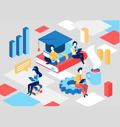 online education service concept with tiny student vector image
