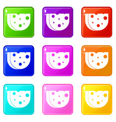 Piece of swiss cheese icons 9 set vector
