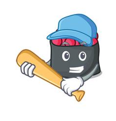 Playing baseball ikura character cartoon style vector