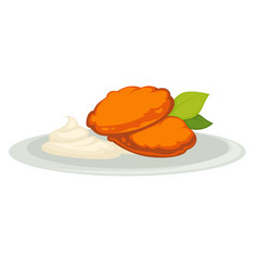 Pumpkin cutlets and sour cream on plate isolated vector