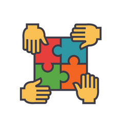 Puzzle with 4 hands partnership integrity flat vector