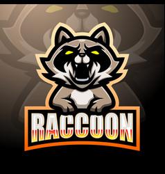 Raccoon mascot esport logo design vector