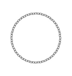 realistic metal circle frame chain texture silver vector image