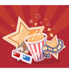 Realistic of cinema glasses popcorn yellow vector