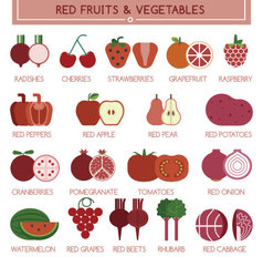 Red fruits and vegetables vector
