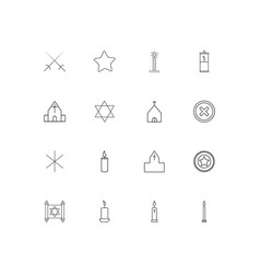 Religion linear thin icons set outlined simple vector
