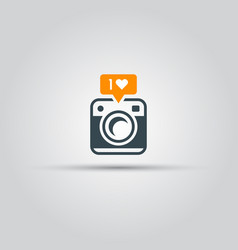 retro camera with like notification icon vector image