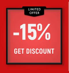 Sale 15 percent off get discount website button vector