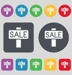 Sale price tag icon sign A set of 12 colored vector