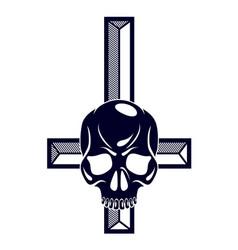 Satanic symbol with inverted skull dead vector