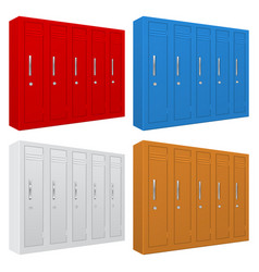 School gym lockers colored set of personal vector