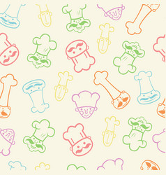 seamless pattern of funny chefs vector image
