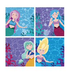 set mermaids cartoon vector image