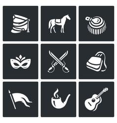Set of Hussars Icons Shako Horse vector