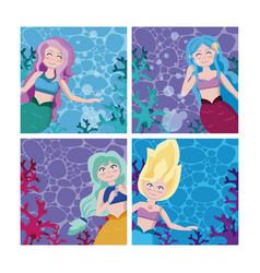 set of mermaids cartoon vector image