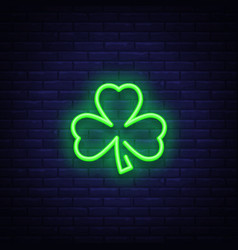 Shamrock is a neon sign neon icon light symbol vector