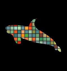 Shark predato color silhouette animal vector