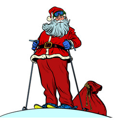 skier santa claus character merry christmas and vector image