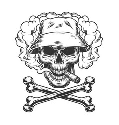 Skull in panama hat smoking cigar vector