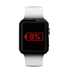 Smart watch with low battery sign on screen vector