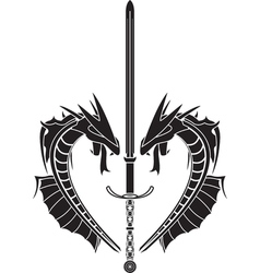 Stencil of dragons and medieval sword vector