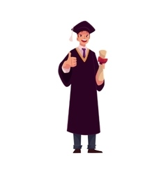 Student in graduation gown and cap with diploma vector