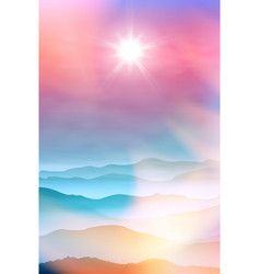 summer background with mountains in the fog vector image