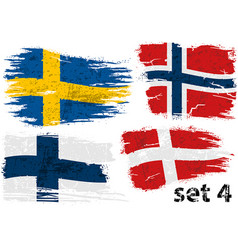 torn flag sweden norway finland and denmark vector image