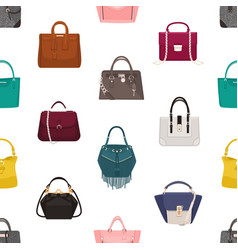 Trendy seamless pattern with stylish women s bags vector