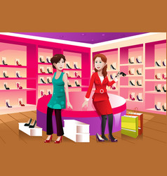 Two women buying shoes vector